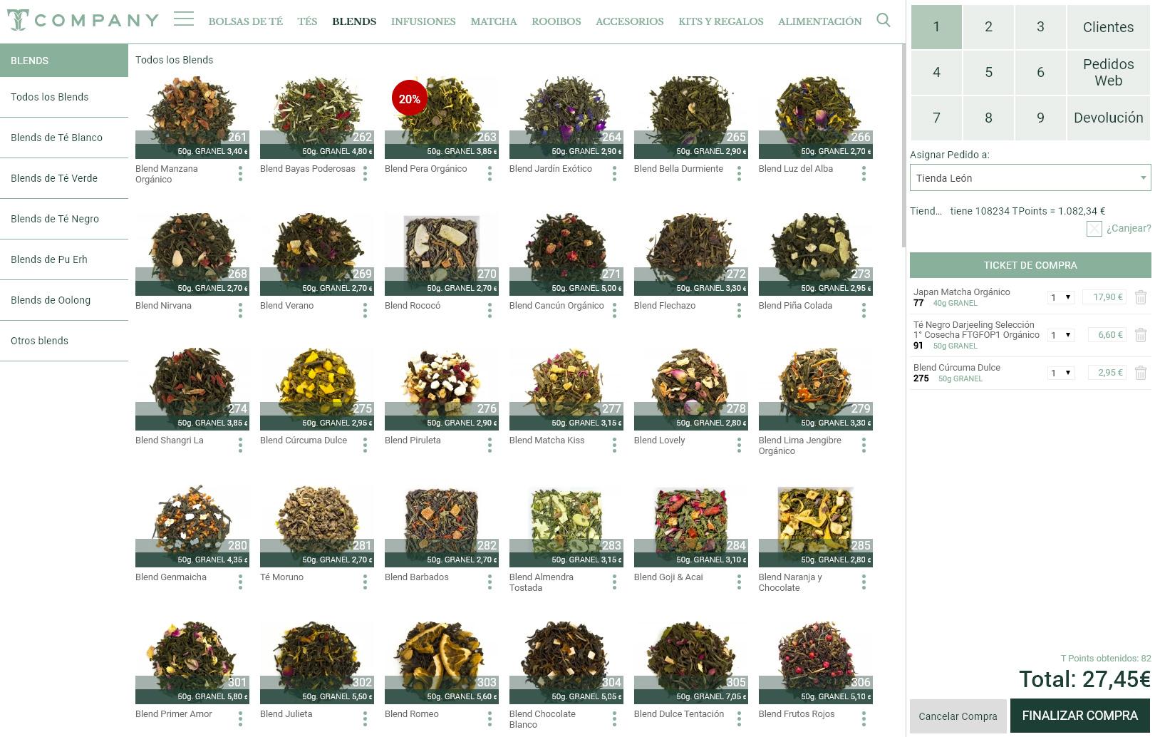 TCompany Vista simulada del TPV