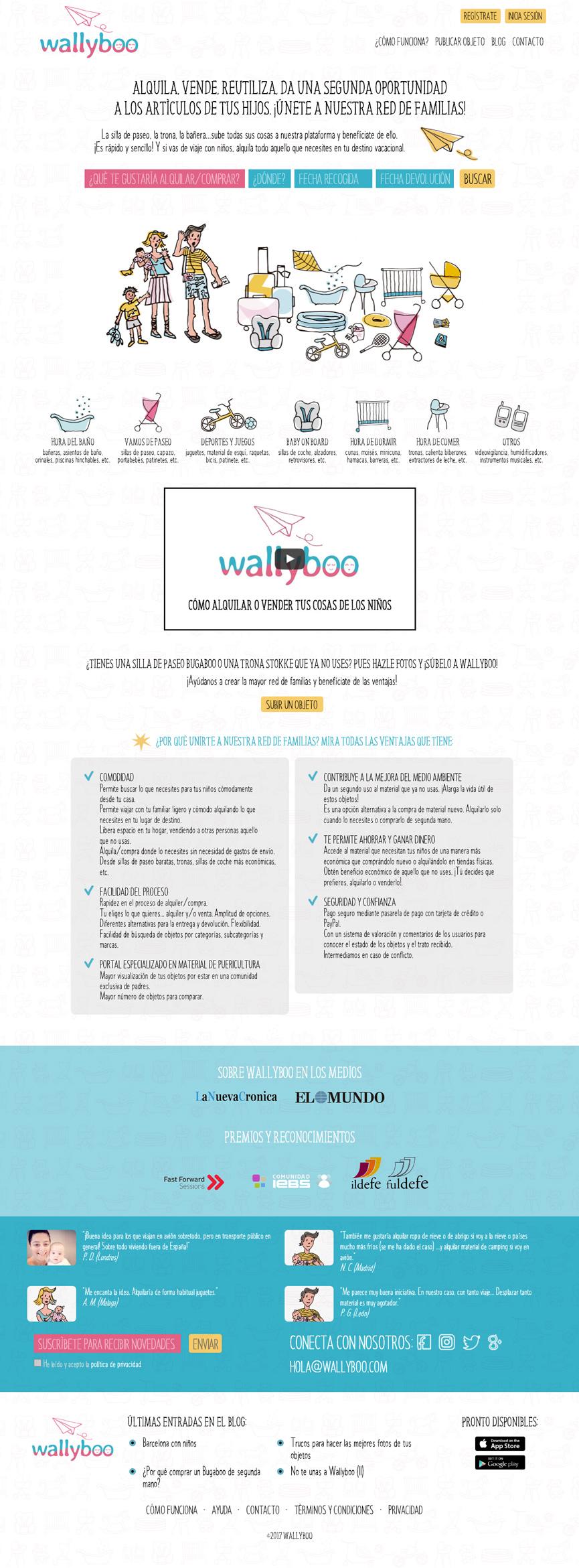 Página princial de wallyboo. Plataforma para el alquiler y venta de objetos de segunda mano de niños y bebés