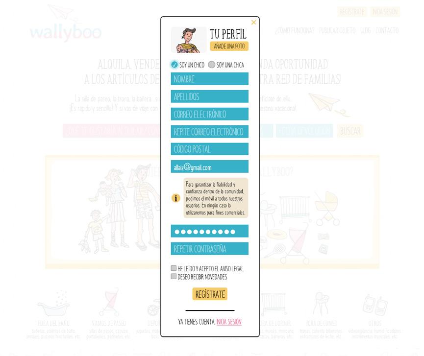Registro de usuarios wallyboo. Plataforma para el alquiler y venta de objetos de segunda mano de niños y bebés